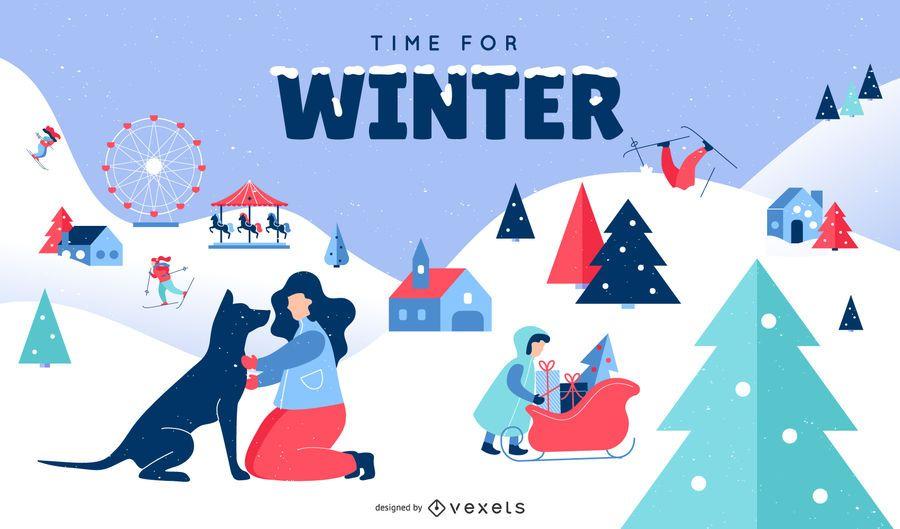 Ilustração plana de cena de neve do inverno