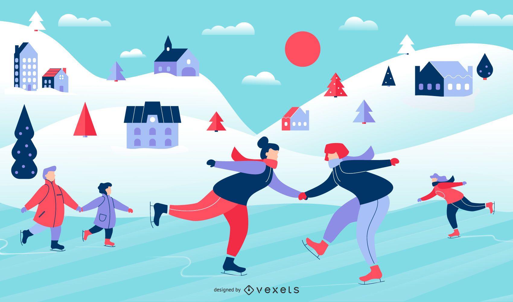 Winter Scene People Illustration