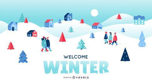Ilustración de paisaje de invierno de bienvenida