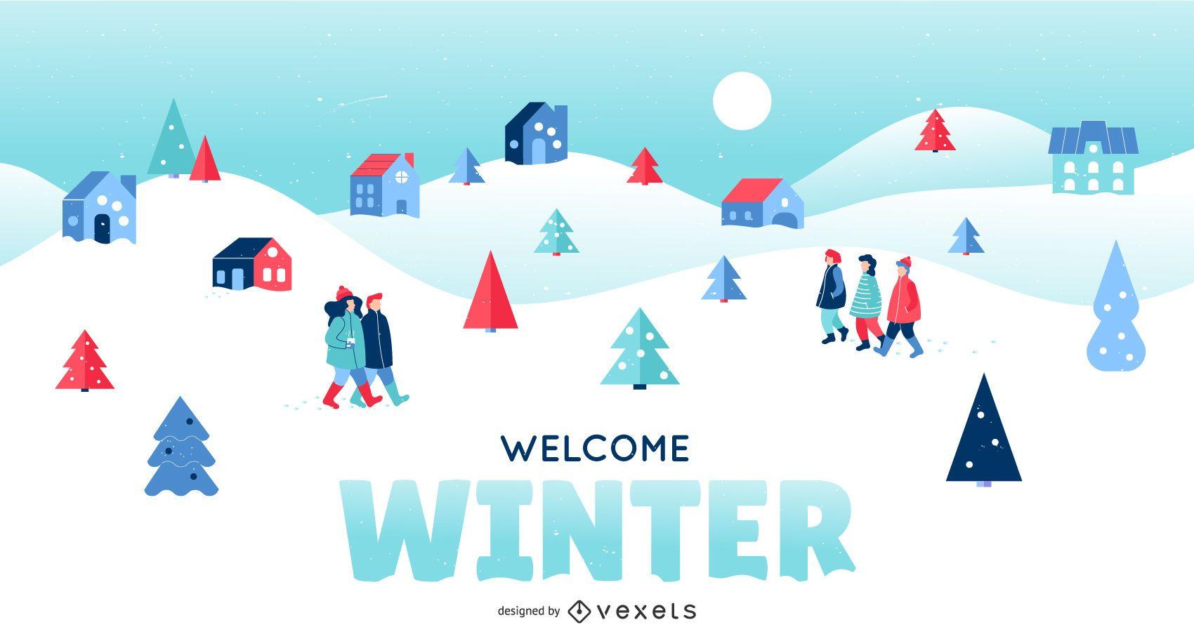 Welcome Winter Landscape Illustration
