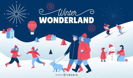 Winter Wonderland Diseño de paisaje nevado