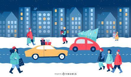 Escena de ilustración de invierno de Navidad de la ciudad