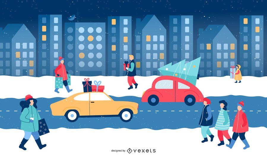 Cidade Natal Inverno Ilustração Cena
