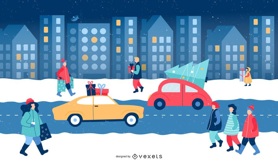City Christmas Winter Illustration Scene