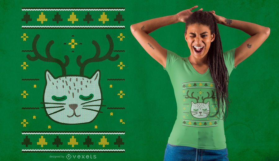 Christmas Ugly Sweater Cat T-shirt Design