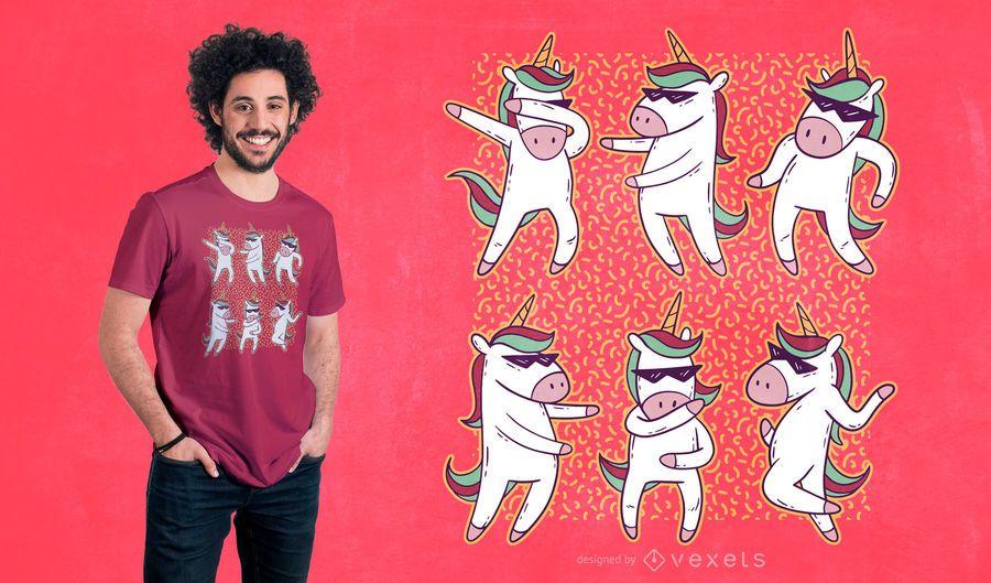 Design de t-shirt de dança de unicórnio