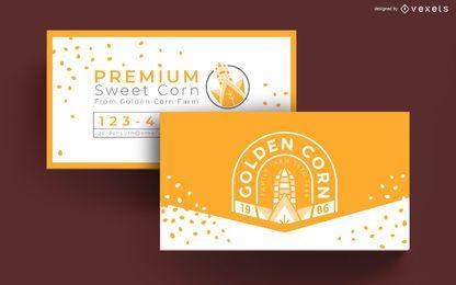 Cartão de visita de fazenda de milho dourado