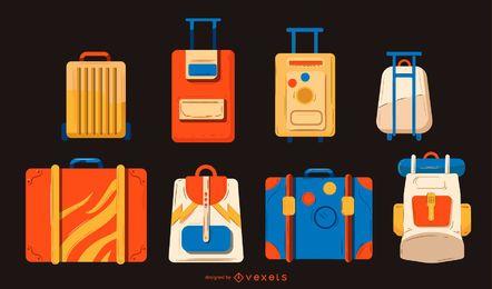 Conjunto de design de ilustração de bagagem