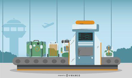 Ilustración de la máquina de rayos X del aeropuerto