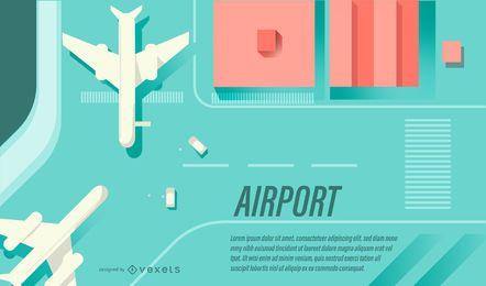 Banner de diseño plano de aeropuerto