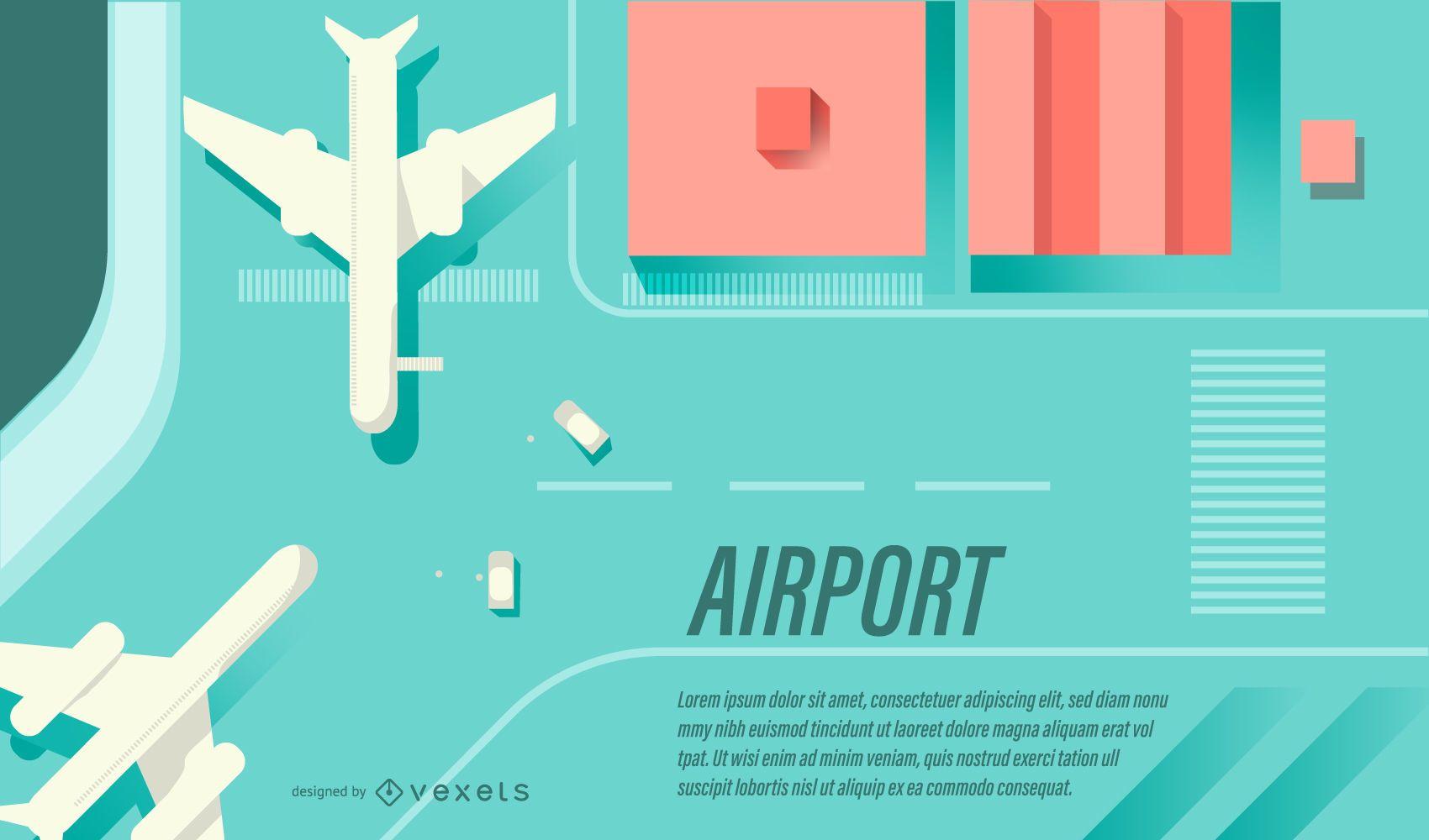 Banner de diseño plano del aeropuerto
