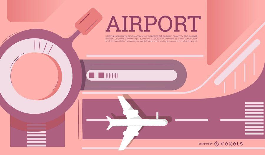 Diseño de banner editable de aeropuerto