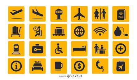 Colección de iconos de signos de aeropuerto