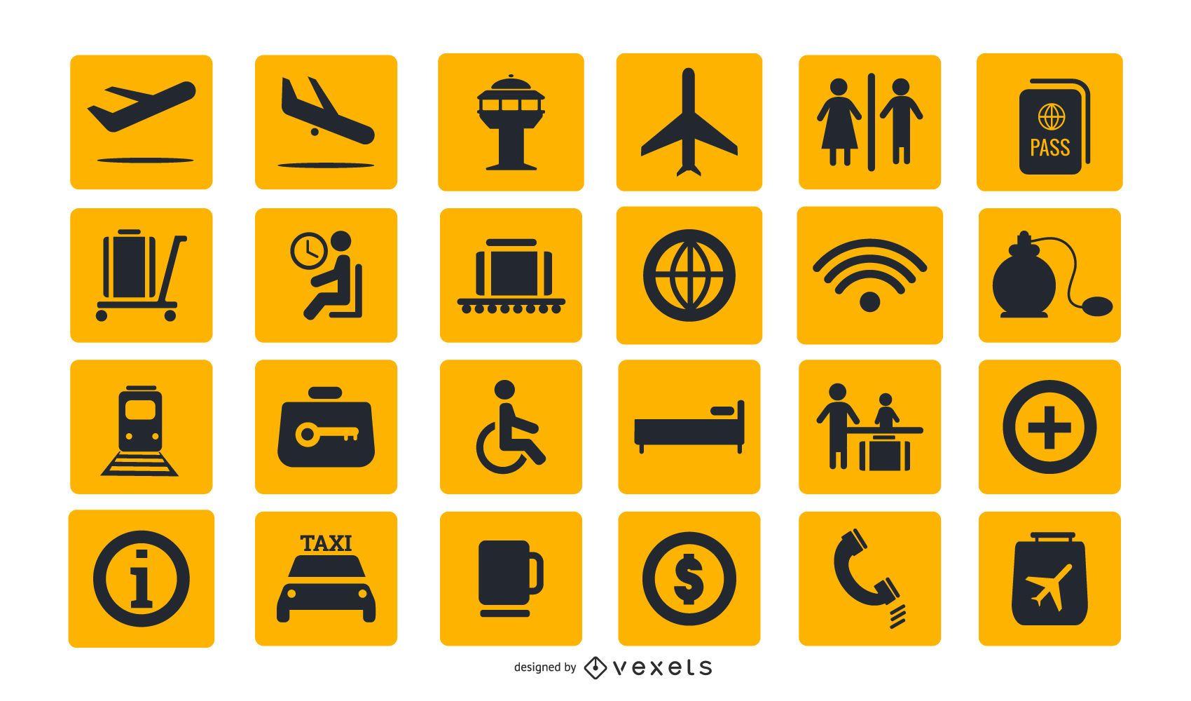 Colección de iconos de señales de aeropuerto