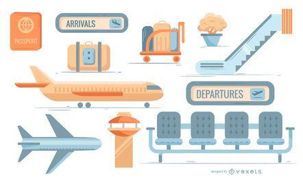 Conjunto de ícones plana do aeroporto