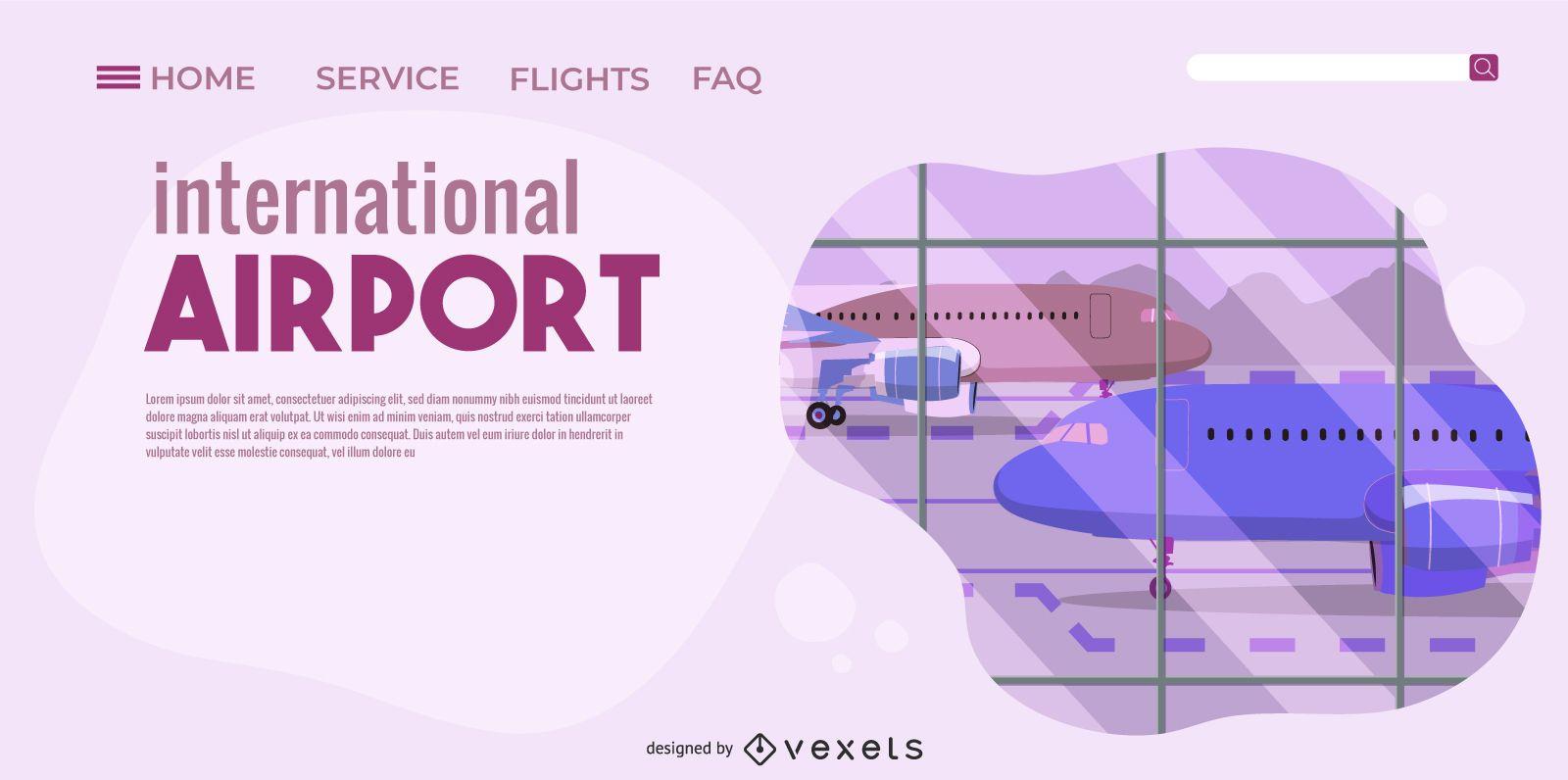 Diseño de página de aterrizaje del aeropuerto internacional