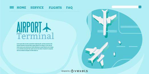 Design der Landing Page des Flughafenterminals