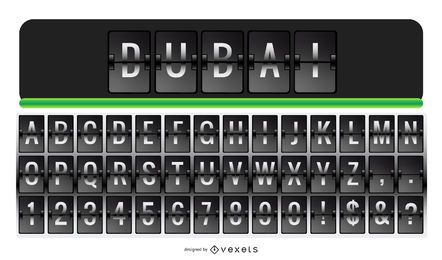 Conjunto de letras do alfabeto do aeroporto