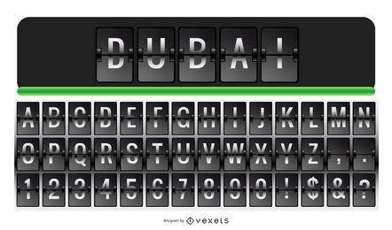 Conjunto de números de letra de alfabeto de letra de aeroporto