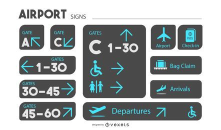 Airport Signage Design Set