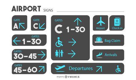 Conjunto de design de sinalização de aeroporto