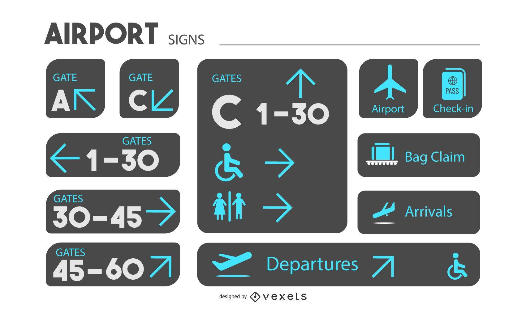 Conjunto de diseño de señalización de aeropuerto