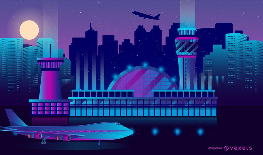 Neon Airport Skyline Design