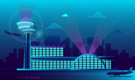 Diseño del horizonte de neón del aeropuerto