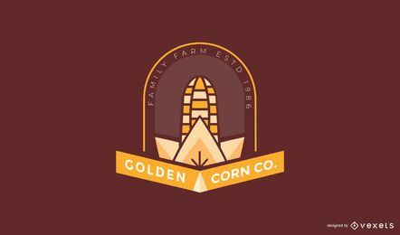 Golden corn farm logo template