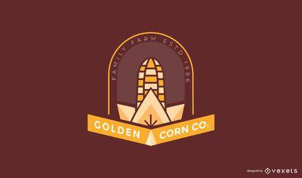 Plantilla de logotipo de granja de maíz dorado