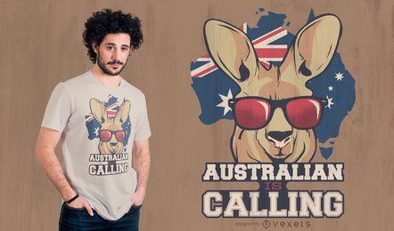 Diseño de camiseta de cita de canguro australiano