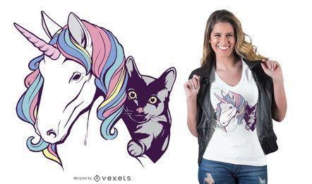 Diseño de camiseta de unicornio y gato