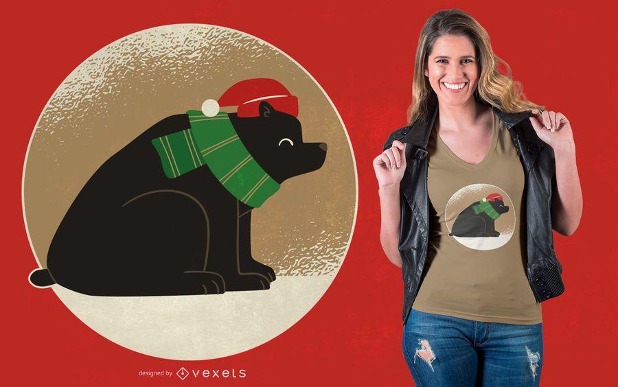 Diseño de camiseta de oso navideño
