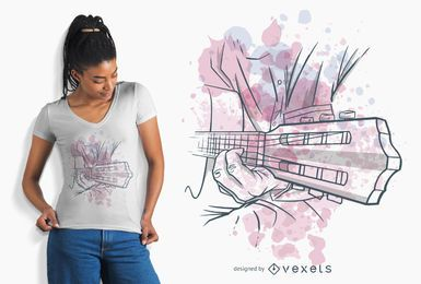 Diseño de camiseta de guitarra tocando acuarela