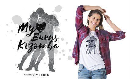 Design de camisetas de casal dançando kizomba