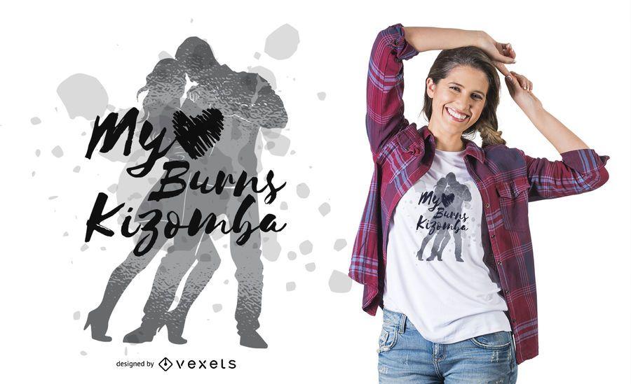 Design de t-shirt de casal dançando Kizomba