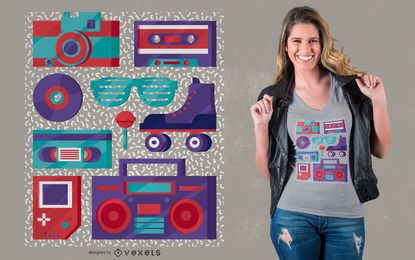 Retro Elements 90er Jahre T-Shirt Design