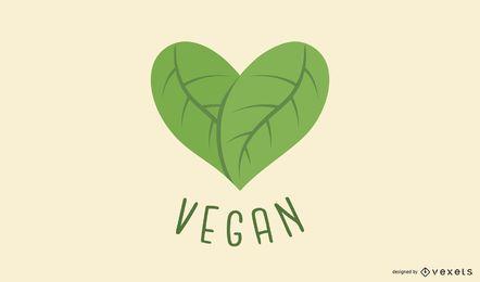 Design de logotipo de coração de folha vegan