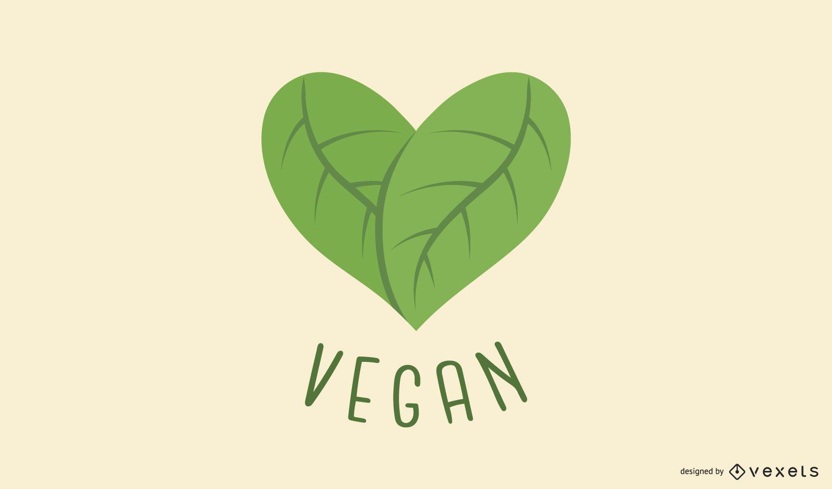 Diseño de logotipo de corazón de hoja vegana