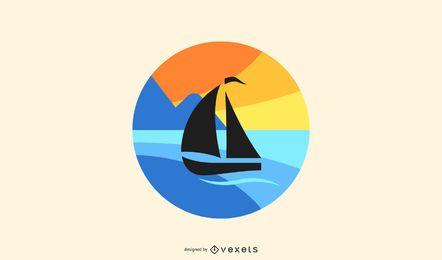 Sonnenuntergang Segelboot Logo Design