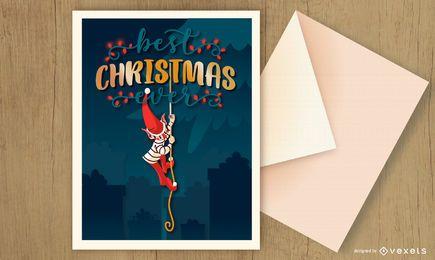 Diseño de elfo de tarjeta de Navidad