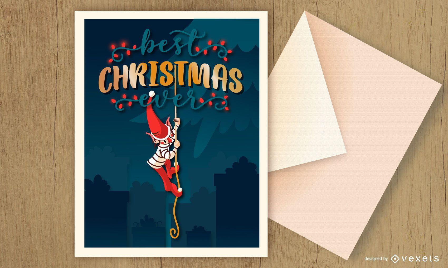 Christmas card elf design