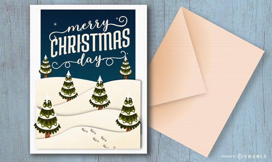 Diseño de tarjeta de feliz día de navidad