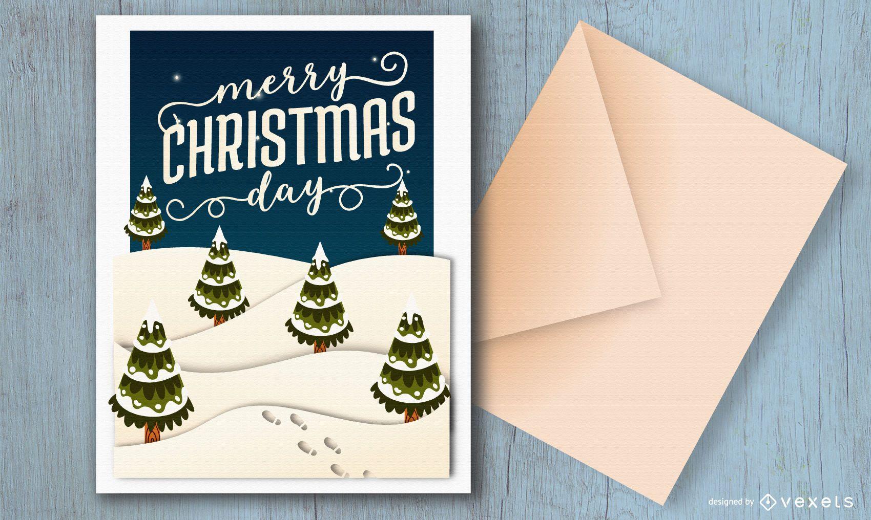 Diseño de tarjeta de feliz navidad día