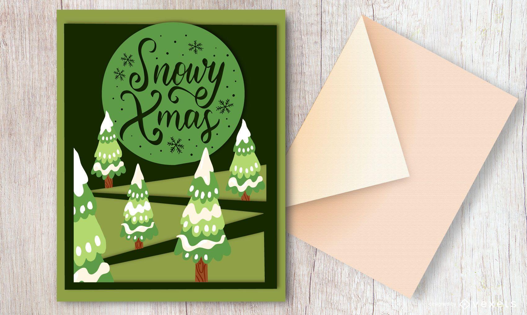 Diseño de tarjeta de Navidad nevado