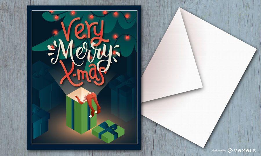 Diseño de tarjeta de muy feliz navidad