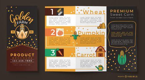 Plantilla de folleto de granja de maíz dorado