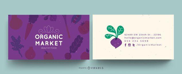 Cartão de visita do mercado orgânico