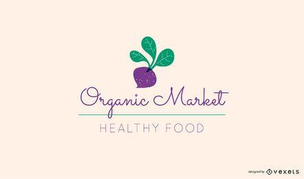 Modelo de logotipo de beterraba mercado orgânico