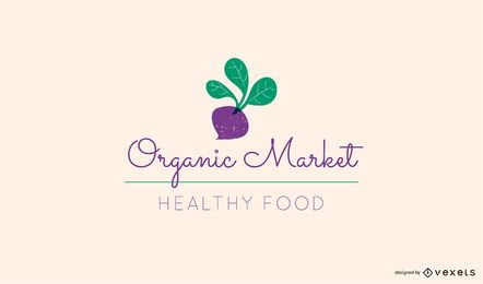 Plantilla de logotipo de remolacha de mercado orgánico